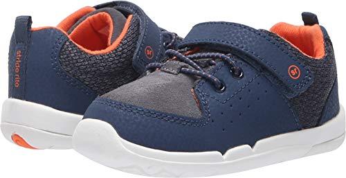 Stride Rite Boys' SRT Skye Sneaker, Navy/Orange, 9.5 W US Toddler