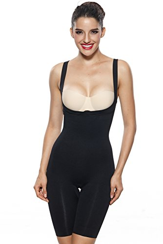 KHAYA Women's Total Compression Mid Thigh Body Shaper XX-Large Black