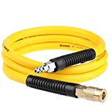 "Hromee Hybrid Rubber & PVC Lead-in Air Hose 3/8 Inch x 6FT with Solid Brass 1/4"" Industrial NPT Quick Coupler and Plug 300PSI Yellow Whip Air Compressor Hose"