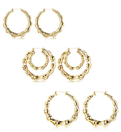 Bamboo Hoop Earrings Hoops - Hanpabum 3 Pairs Large Bamboo Hoop Earrings Set Gold Plated Statement Hip-Hop Earrings for Women Girls