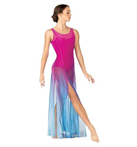 Adult Long Tank High Slit Mesh Lyrical Dress,WC232BPBKL,Ballet Pink/Black,Large