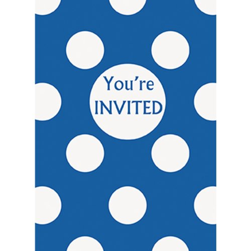 Royal Blue Polka Dot Party Invitations, 8ct (Party Ideas Dot Polka Birthday)