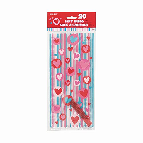 Valentine Stickers Party Favors (Simply Hearts Valentine's Day Cellophane Bags,)