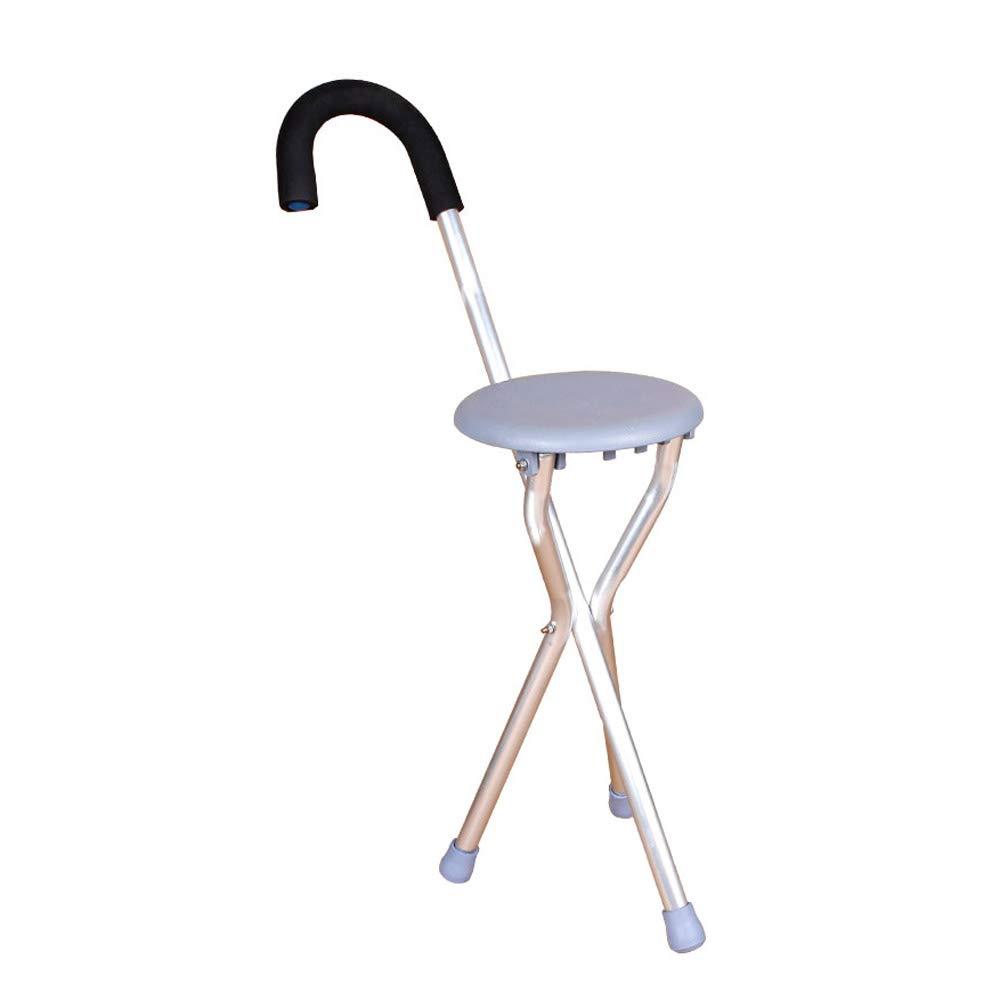 Walker, Rehabilitation Training for The Elderly, Folding Cane Four-Legged Cane Chair Stool Assisted Walking (Color : Gray)