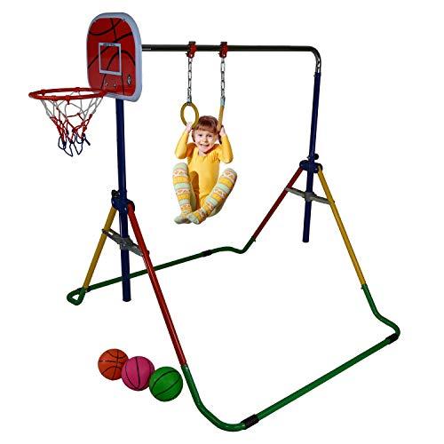 JUNGLE KIDS Preschool Gymnastics Horizontal Bar Climbing with Gym Rings Swing Basketball Hoop and Balls