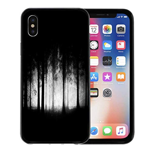 Emvency Phone Case for Apple iPhone Xs case,Spooky Dark and Scary Forest Grungy Creepy Woods Black Halloween for iPhone X Case,Rubber Border Protective Case,Black