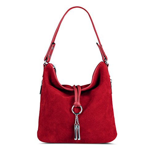 - Nico Louise Women Split Real Leather Shoulder Bag Female Suede Crossbody handbag Casual Lady Messenger Hobo Top-handle Bags (Red)