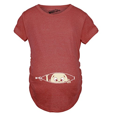 Crazy Dog TShirts - Maternity Baby Peeking T Shirt Funny Pregnancy Tee For Expecting Mothers - Camiseta De Maternidad heather rojo