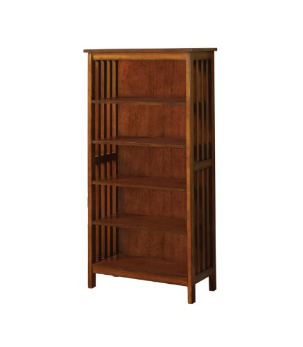 5 Mission Shelves Oak Bookcase - Furniture of America Liverpool Mission Style 5-Shelf Bookcase, Antique Oak Finish