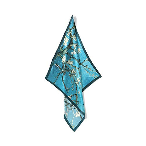 - Jeelow 100% Silk Scarfs Petite Square For Women Silk Scarves For Hair Wrapping Neckerchief (Blue flower)