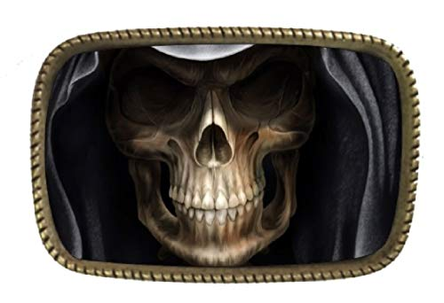 Halloween Scary Face Skull Head Mask Living Not Dead Brass Belt Buckle Made In USA -