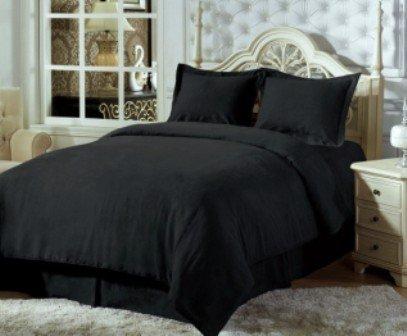 TEMPTATION Egyptian Cotton 400TC 4Pcs Solid Sateen Comforter(White) and Duvet cover Set King Black. (Temptation Comforter Set)