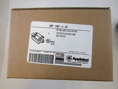 "Appleton FDC-1-75 Cast Device Box, FDC, 1 Gang, Malleable Iron, Deep, 3/4"" Hub"