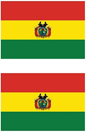 Two Pack Bolivian Flag Sticker FA Graphix Decal Self Adhesive Vinyl Bolivia BOL BO