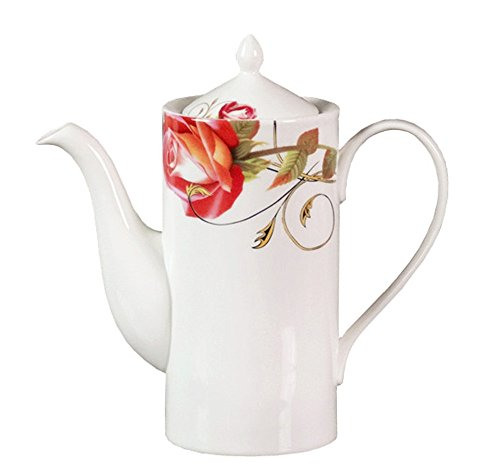 - European Royal England Bone China Ceramic Teapot Coffee Pot,Rose,Red And White