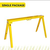 Heavy Duty Folding Adjustable Sawhorse - Single package steel sawhorse, Frontier qualified Easy folding and unfold,4 Adjustable Heights for your working needs on the ground