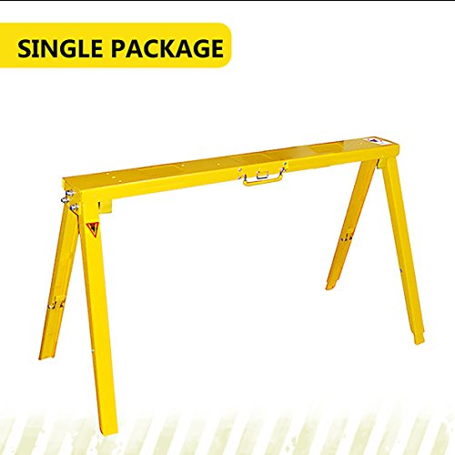 Folding and Adjustable Sawhorse - Single package Steel sawhorse, Easy folding and unfold, Adjustable Height for uneven Floor (Steel Sawhorse Folding)