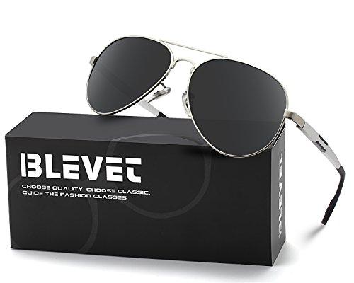 BLEVET Aviator Polarized Sunglasses Metal Frame Unisex Sun Glasses (Silver Frame-Grey, - Mini Aviator Sunglasses