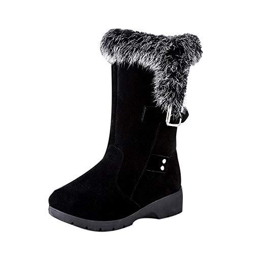 Baigoods Women Ankle Boots Buckle Plus Velvet Voots Wedge Platform Winter Warm Rabbit Plush Snow Boots