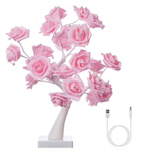 Finether Table Lamp Adjustable Rose Flower Desk Lamp|1.64ft Pink Tree Light for Wedding Living Room Bedroom Party Home Decor with 24 Warm White LED Lights|Two Mode: USB/Battery Powered (Flower Table Lamp)