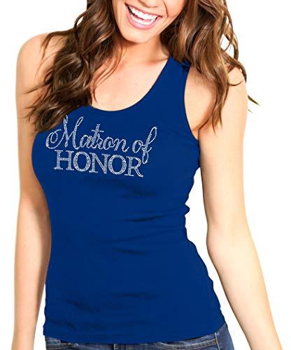 Matron of Honor Shirt - Premium Quality Crystal Rhinestone Tank Top - Nautical Bachelorette Party Shirt Flirty Small Navy - Top Rhinestone Crystal Tank