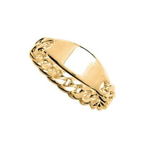 Vermeil Gold 18k Plate (So Chic Jewels - Vermeil - Silver Gilt (18k Gold over 925 Sterling Silver) Plate Chain Band Ring - Customisable: Your Message Engraved Free - Size 10)