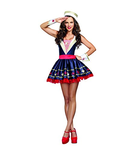 Dreamgirl Women's Shore Thing Sailor Costume, Navy, Medium