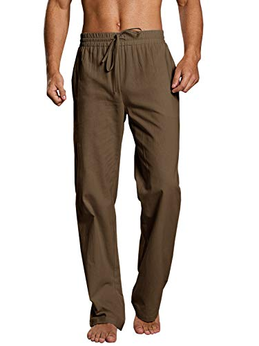 PASLTER Mens Linen Casual Loose Fit Pants Straight-Legs Cotton Linen Long Pants Summer Elastic Waist Relaxed Fit Trousers Stretchy Beach Pants for Men Brown
