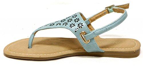 Anna Sami-1 Vrouwen T-strap String Bloem Cutoff Madeliefje Geperforeerde Platte Pu Sandalen Blauw