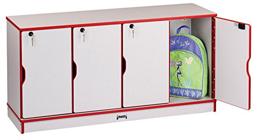Rainbow Accents 4688JC008 Stacking Lockable Lockers, Single Stack, Red ()