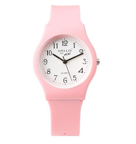 Silicone Mini Casual Pink Quartz Wristwatch For Women Men Students Kids Boys Girls
