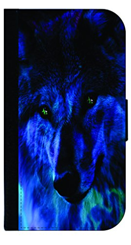 Blue Fire Wolf - Wallet Case for the Samsung Galaxy S6 Only (Not For the Galaxy s6 EDGE)- with a Flap Cover and Magnetic Closing Flap-PU Leather and - Fire Phone Wallet Case Leather