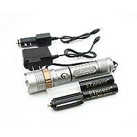ETpower 1800 LM XM-L T6 Paquete de linterna con zoom con dos baterías 18650, cargador de auto y cargador de CA