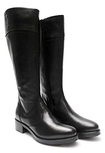 Nero Giardini 19820 stivali da donna in pelle Nero cerniera laterale tacco cm. 4, num. 36