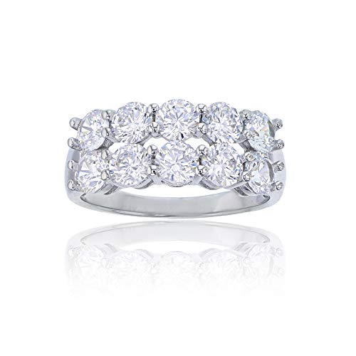 - Sterling Silver Rhodium 4mm Round Cut Cubic Zirconia Double Row Anniversary Band Fashion Ring