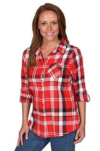 UG Apparel NCAA Womens Boyfriend Plaid Roll Up Sleeve Shirt