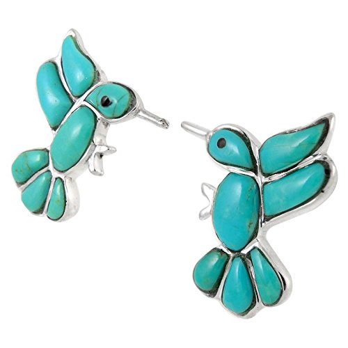 925 Sterling Silver Hummingbirds Earrings Genuine Turquoise (Turquoise) by Turquoise Network (Image #3)