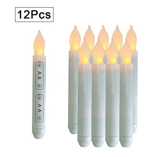 youngerbaby Amarillo Mini Funciona con pilas Cera Dipped–Taper velas, sin Llama Taper velas LED pilas no incluidas,...