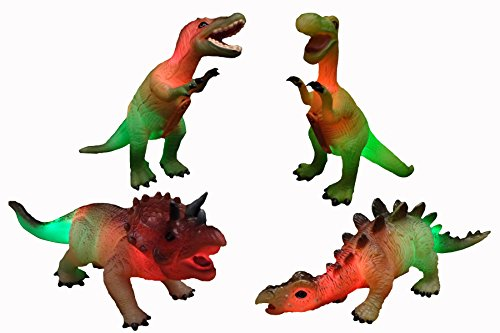 WeGlow International Dinosaur Action Figure with Light and Sound Assorted (4-Pack)