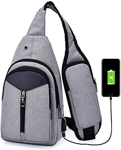 Waitousanqi ポータブルアウトドアカジュアルバックパックニュートラルショルダーバッグ三角形デザインクロスボディバッグ外部USB充電コネクタとヘッドフォンプラグアウトドアスポーツライディングショルダーバッグ A15