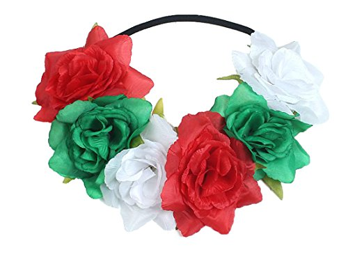 Headband Red Green - Floral Fall Rose Holiday Christmas Crown Festival Headbands Hippie Flower Headpiece F-53 (Red White Green)