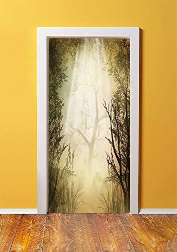 Mystic Forest Decor 3D Door Sticker Wall Decals Mural Wallpaper,Fantasy Golden Mist Mystical Spot Deep down in Forest with Sun Beam,DIY Art Home Decor Poster Decoration 30.3x78.4197,Light Yellow ()