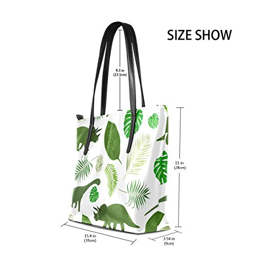 PU Handbag Totes TIZORAX Green Dinosaurs Leaves Women's Purses Leather Top Bags Fashion Handle Shoulder x0IFR