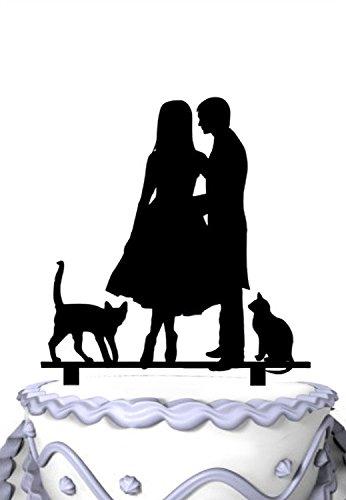 Meijiafei Groom Whisper in Bride`s Ear with 2 Cats Silhouette Wedding - Silhouette Ear