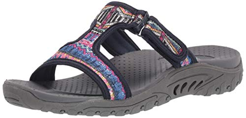 Skechers Women's Reggae-Sequence-Sequined T-Strap Slide Sandal Navy 9 M US