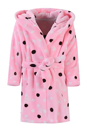 Ameyda Girls Polka Dots Printed Flannel Hoodie Robe Fleece Bathrobe With Hood -