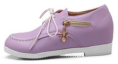 Sfnld Donna Elegante Punta Tonda Taglio Basso Stringata Nascosta Sneakers Viola