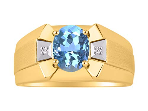 RYLOS Simply Elegant Beautiful Blue Topaz & Diamond Ring - December Birthstone ()