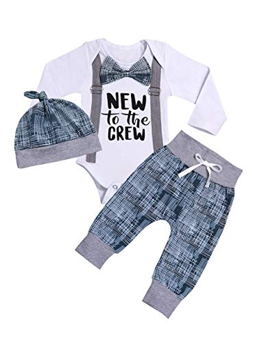Newborn Baby Boy Clothes New to The Crew Letter Print Romper Long Pants Hat 3PCS Outfits Set Breathable and Soft (J-White, 0-3 Months) -