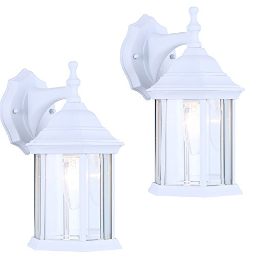 - 2 Pack of Exterior Outdoor Light Fixture Wall Lantern Sconce Clear Beveled Glass, White Finish
